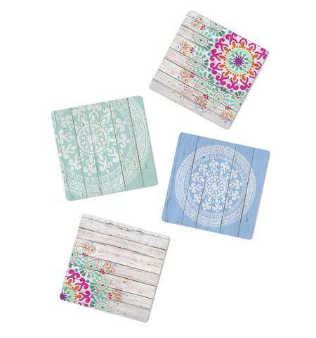 Mandala 4 Acrylic Coasters