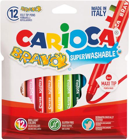 Carioca 12 Maxi Round Feltip Bravo Colors Super Washable Non-Toxic Ink (42755)
