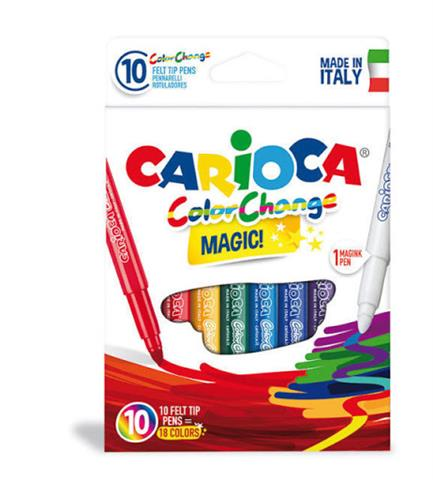 Carioca 10 Feltip Colors With A Special Color Changing Ink. Use The Magic Pen Included In The Pack To Get Two Colors (42737)