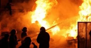 حريق هائل بتلا في المنوفية