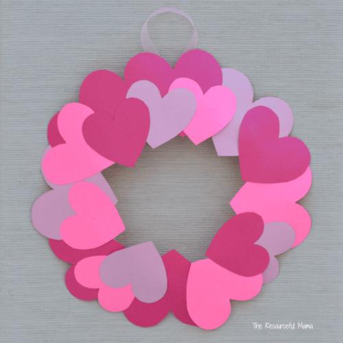 Heart wreath valentines day craft