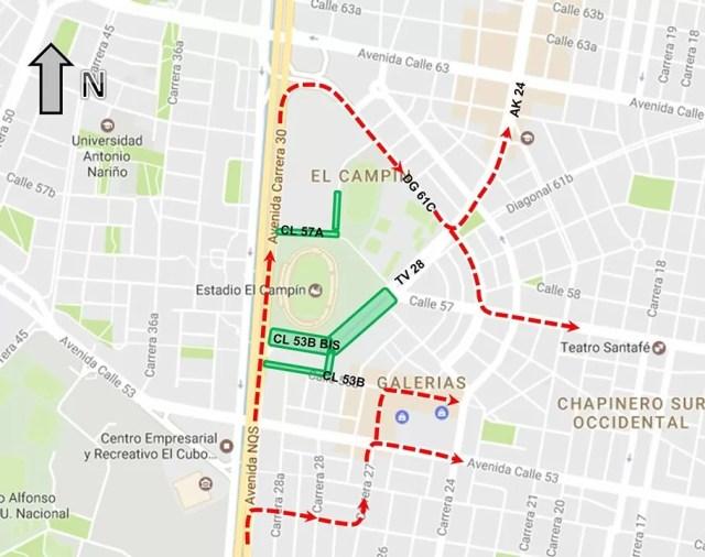 Mapa 1: Desvíos autrizados / Secretaría Distrital de Movilidad / Concierto Justin Bieber en Bogotá