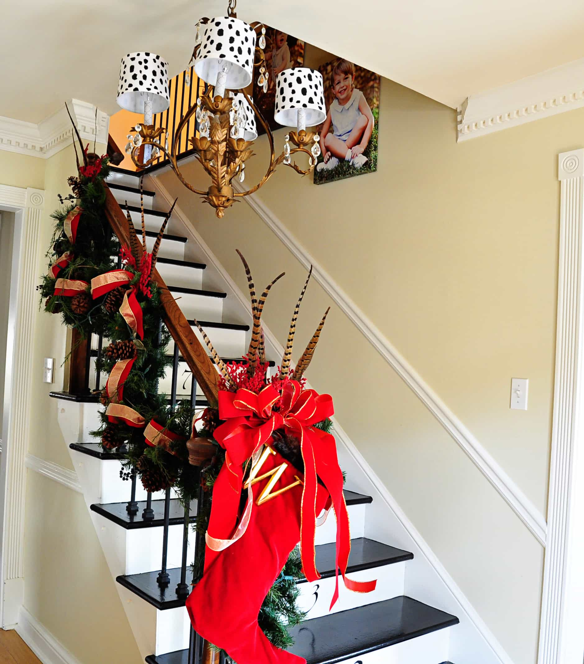 Decorating banisters for christmas with ribbon - I Tie The Garland On To The Banister With A Thin Sheer Ribbon It S Easy To Get Up And Doesn T Ruin The Wood Hand Rail