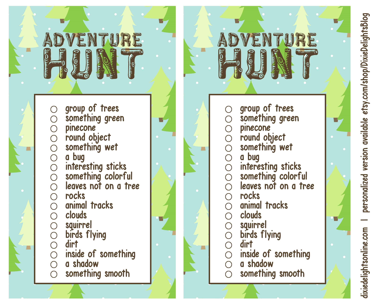 Adventure Hunt Outdoor Scavenger Hunt Free Printable Dixie Delights