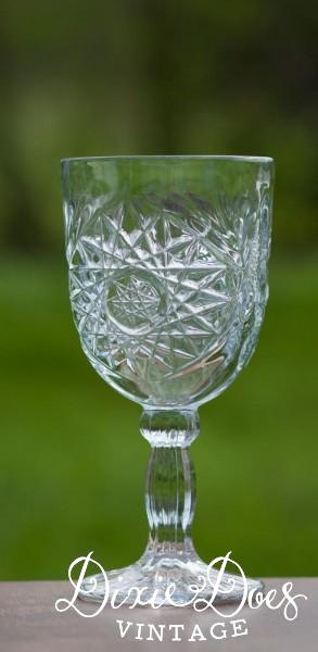 Pressed Clear Glass Goblets 195