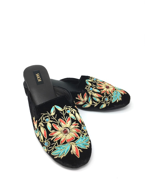 Black Velvet Mules with Colorful
