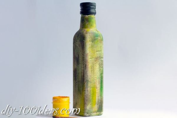 Decoupage Olive oil bottle  (6)