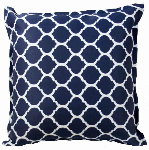 Bungalow Living navy trellis cushion