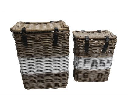 Painted wicker basket storage white stripe