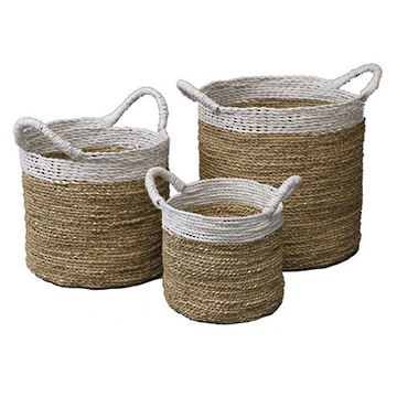 round painted wicker baskets stripe Eco Chic