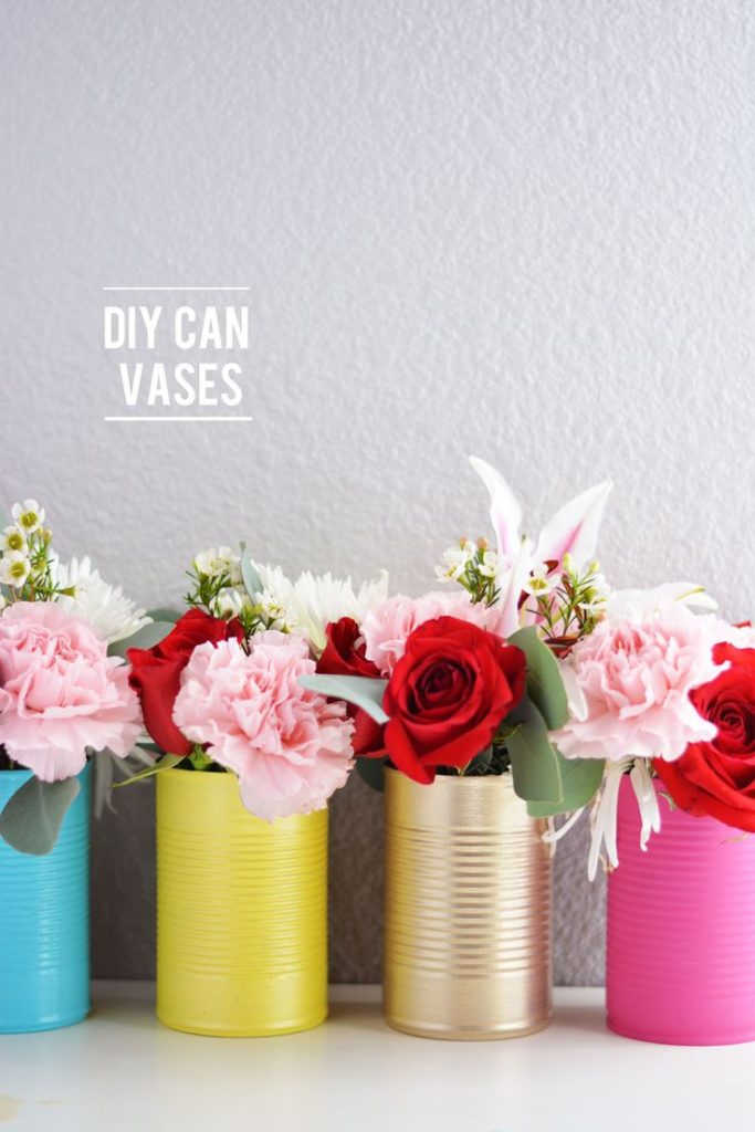 Spring can vases