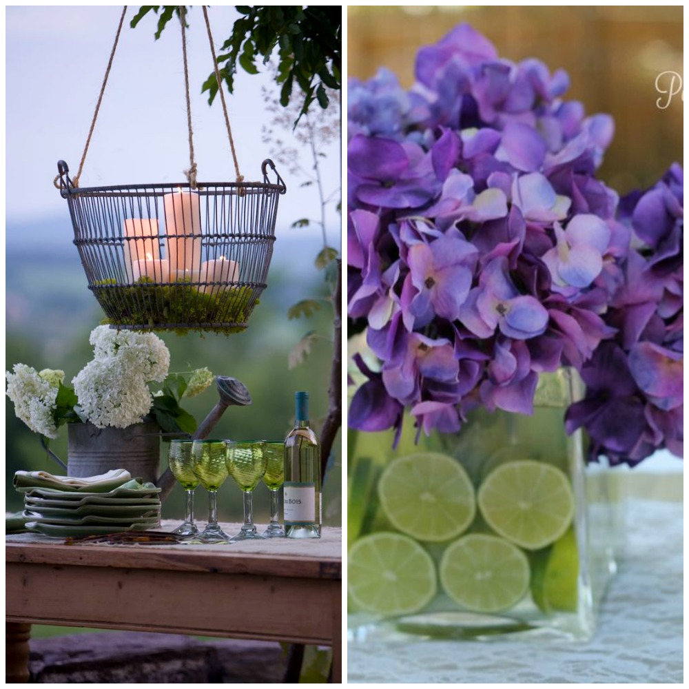 Alfresco candles and flowers