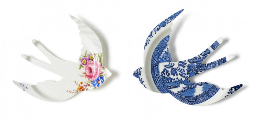 swallow wall art from recycled plates