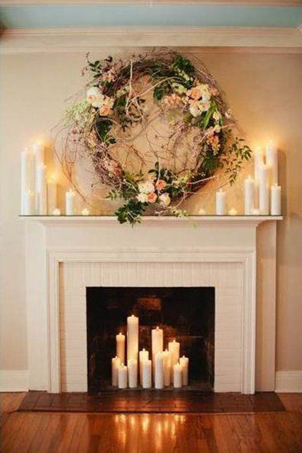 decorating a fireplace candles