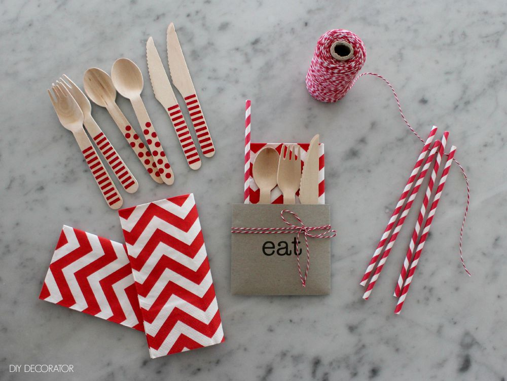 DIY Cutlery Envelopes Filled