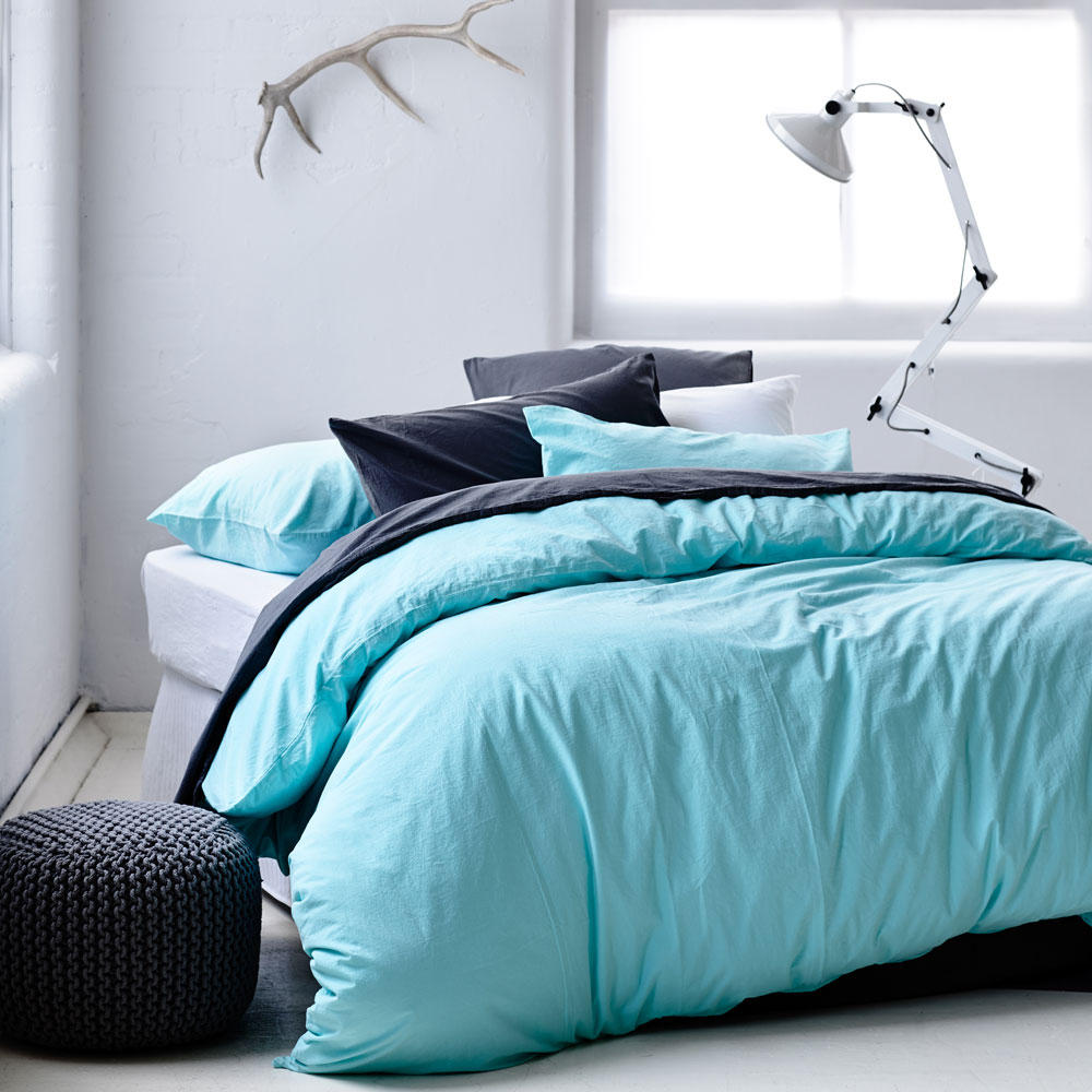 Stonewash mint quilt cover for the guest bedroom