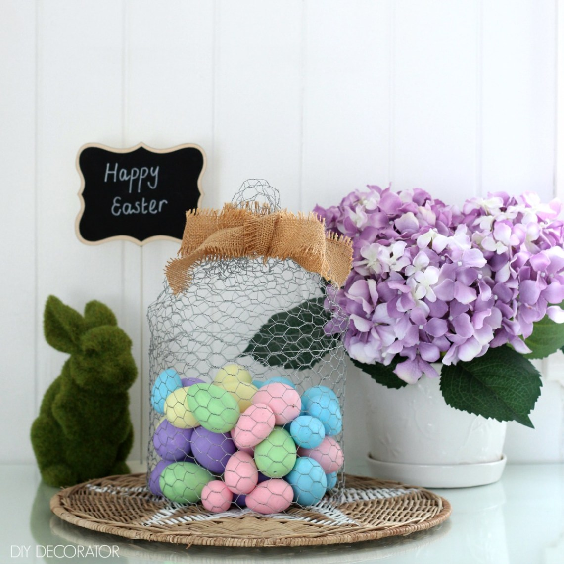 DIY painted Easter eggs under chicken wire cloche