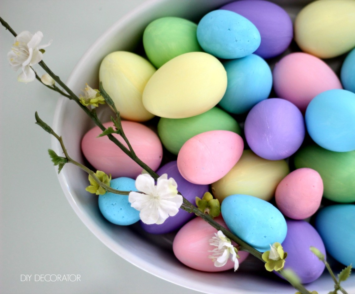 DIY painted Easter eggs in bowl