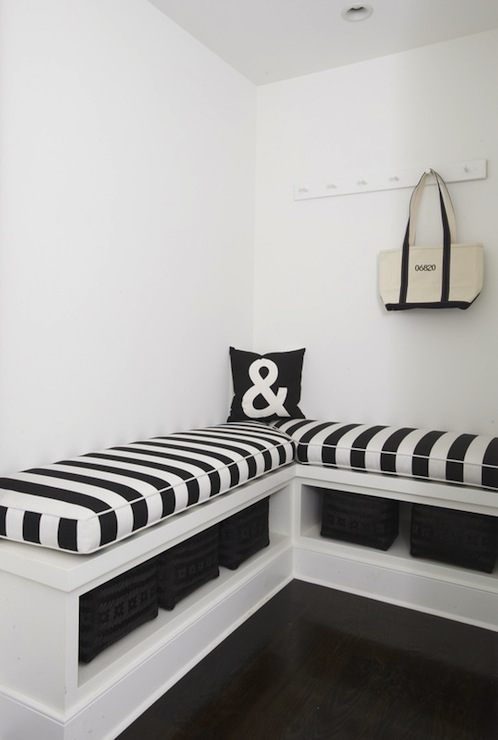 mudroom inspiration black and white stripe cushions