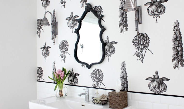Botanical powder room black mirror