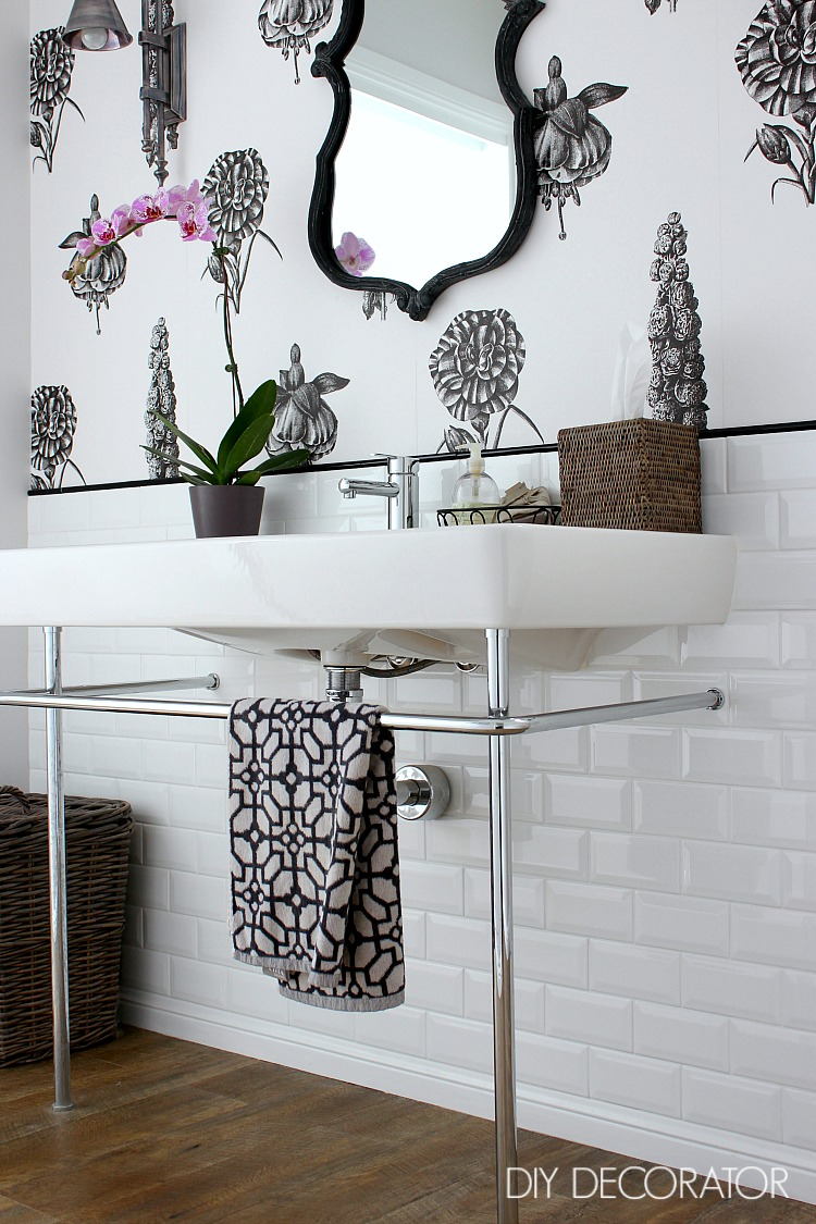 Botanical powder room vanity