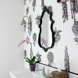 Botanical powder room black and white wallpaper