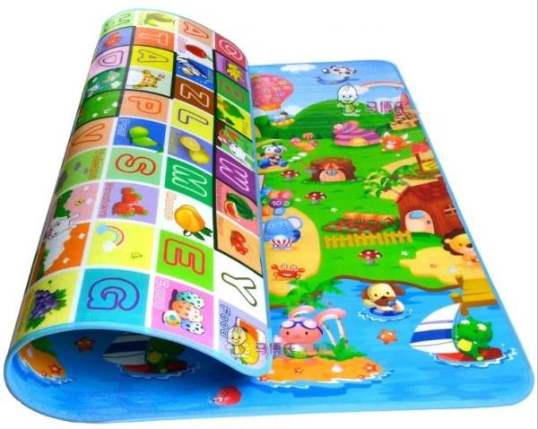 Двухсторонний Игровой Коврик «Веселая Ферма и Буквы» 200х180×1 см