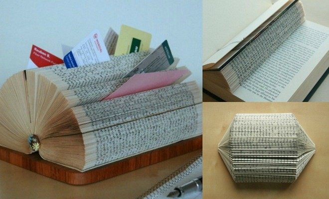 DIY Business Card Display Stand Made Of A Folded Book