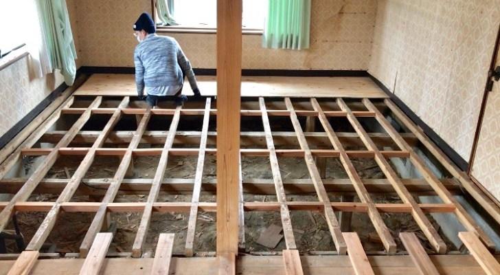 床の下地になる針葉樹合板を張る