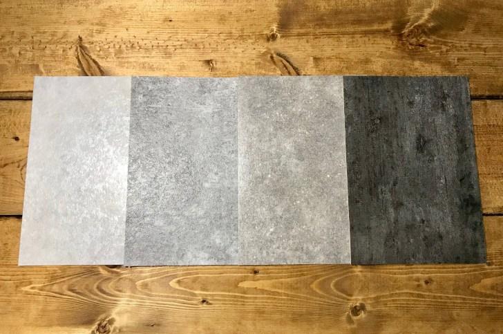 コンクリート調のクッションフロアサンプル