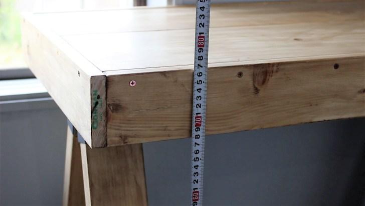 ソーホースブラケットテーブルの天板の位置が77㎝