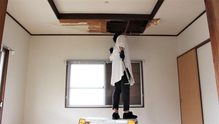 解体した所から屋根裏をのぞき込む