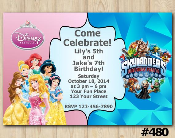 twin disney princess and skylanders invitation personalized digital card