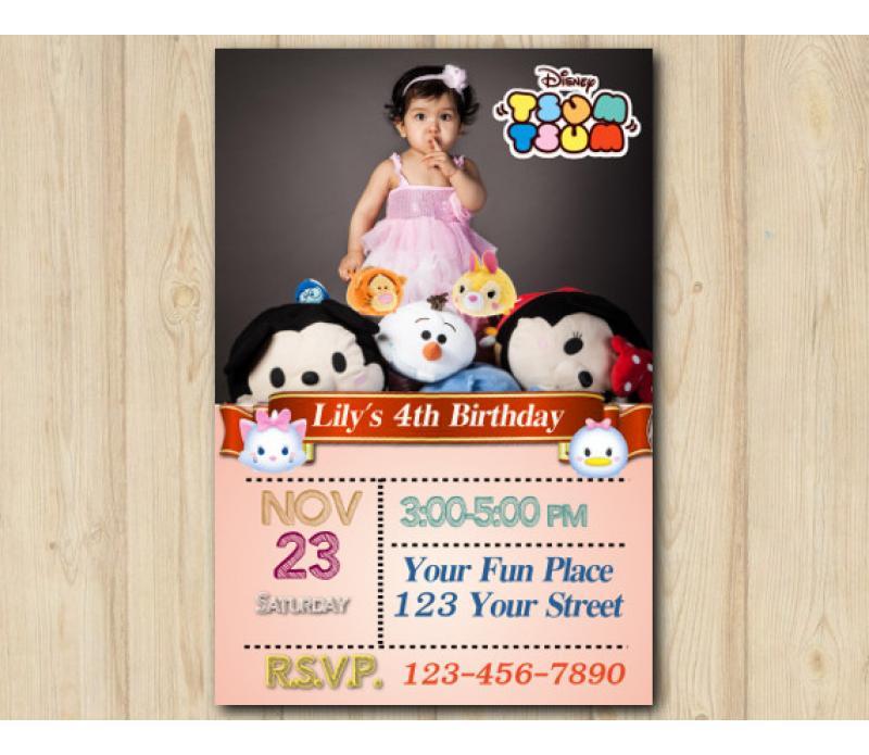 tsum tsum invitation with photo personalized digital card