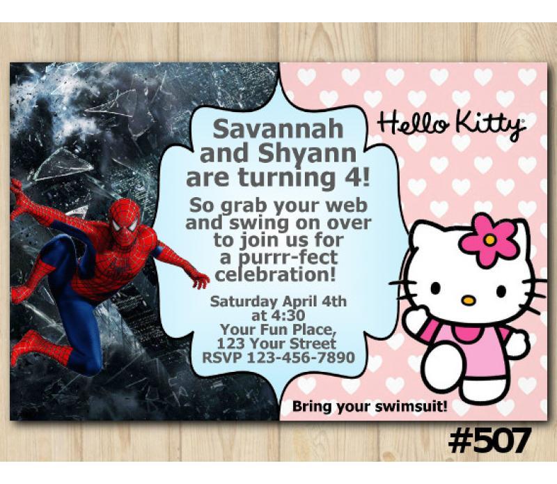 twin hello kitty and spiderman invitation personalized digital card