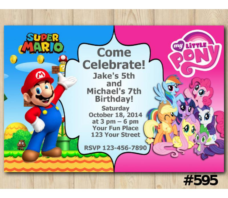twin super mario and my little pony invitation personalized digital card
