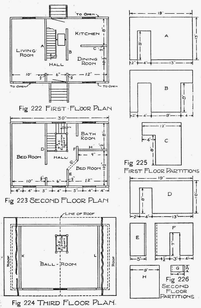 Plans of Doll-house and Patterns for Partitions