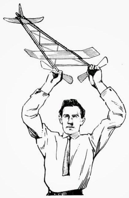 Aeroplane Model - Fig 34 — Launching a Model Aeroplane