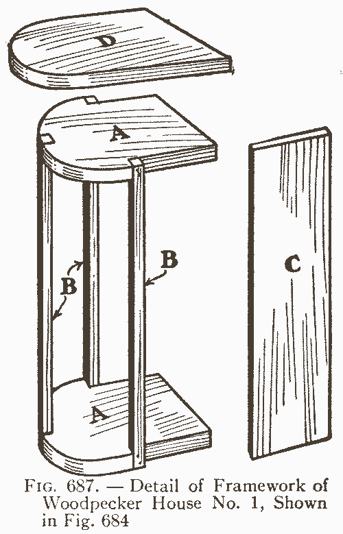 Fig. 687. — Detail of Framework of Woodpecker House No. 1, Shown in Fig. 684