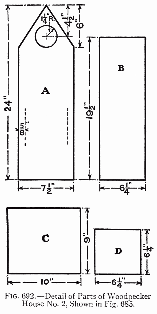 Fig. 692.—Detail of Parts of Woodpecker House No. 2, Shown in Fig. 685.