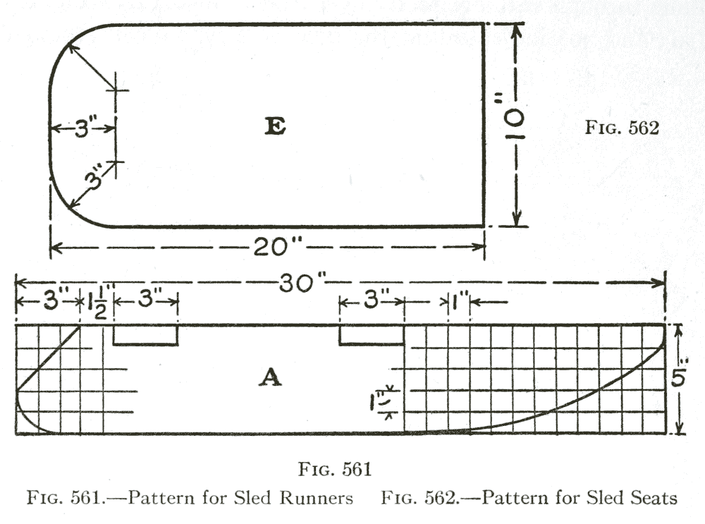Fig. 561— Pattern for Sled Runners   /   Fig. 562.—Pattern for Sled Seats