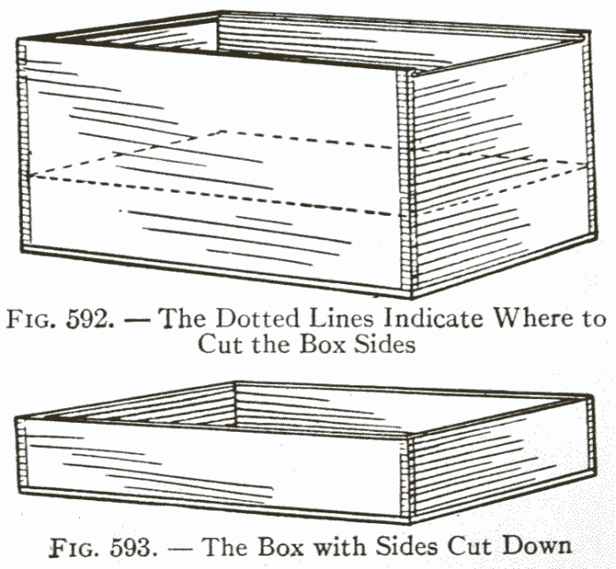 Fig. 592. — The Dotted Lines Indicate Where to Cut the Box Sides   /  Fig. 593. — The Box with Sides Cut Down