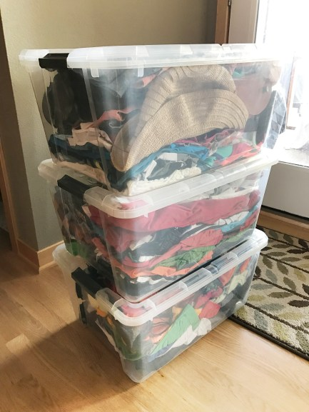 Stacked Bins packed for a road trip