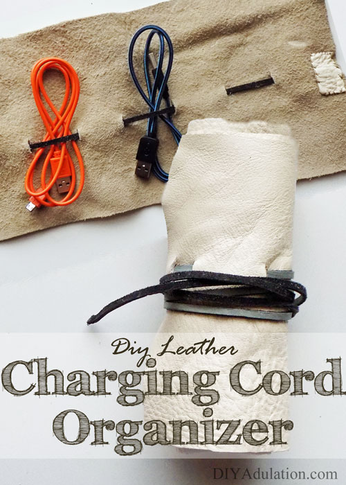 Diy leather charging cord organizer tame the cord drawer Charger cord organizer diy