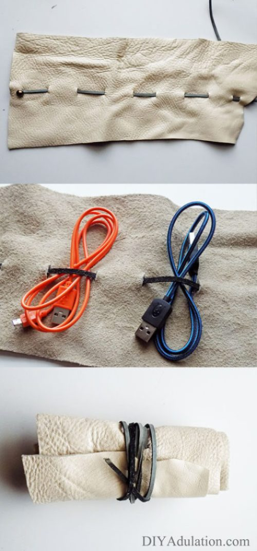 Diy leather charging cord organizer tame the cord drawer this diy leather charging cord organizer holds your cords and wall adapters to keep everything in solutioingenieria Image collections