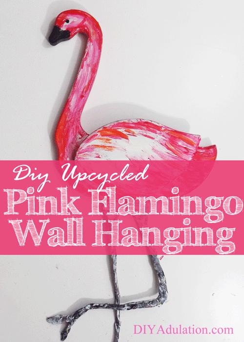 DIY Upcycled Pink Flamingo Wall Hanging