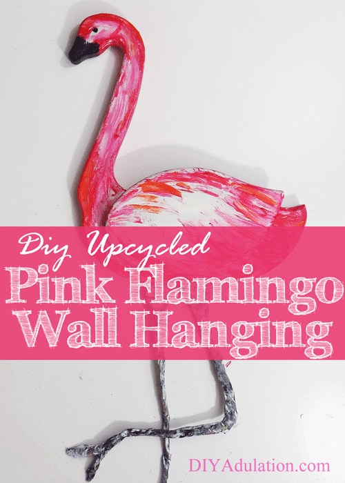 DIY Upcycled Pink Flamingo Wall Hanging