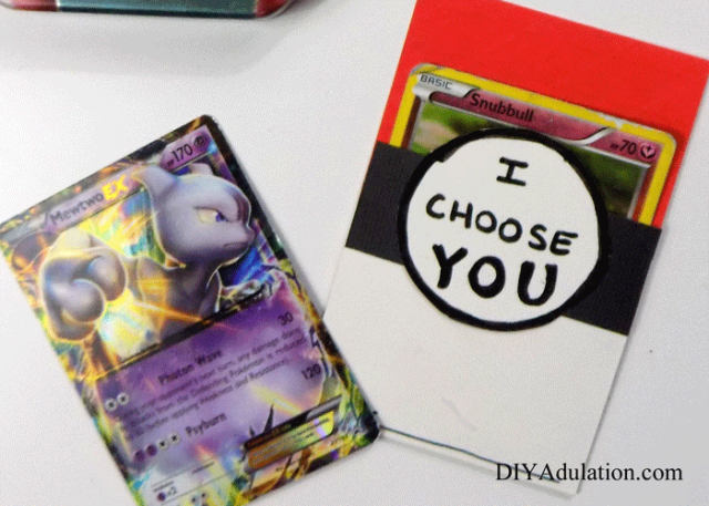 These DIY Pokemon card Valentines are easy to make and candy-free! Little Pokemon trainers will be ecstatic to give them at their Valentine's parties.
