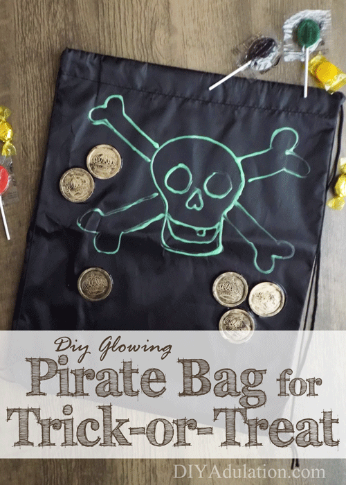DIY Glowing Pirate Trick-or-Treat Bag