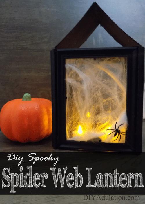 DIY Spooky Spider Web Halloween Lantern